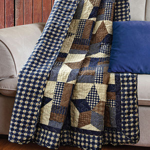 Navy Blue Woodland Star Printed Quilted Throw
